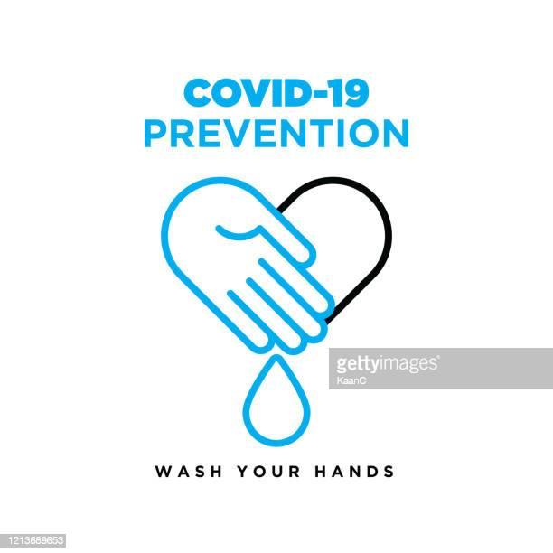 ウォッシュハンドアイコンストックイラスト、コロナウイルスまたはcovid-19予防ベクターイラストに関する警告サイン - 衛生管理点のイラスト素材/クリップアート素材/マンガ素材/アイコン素材