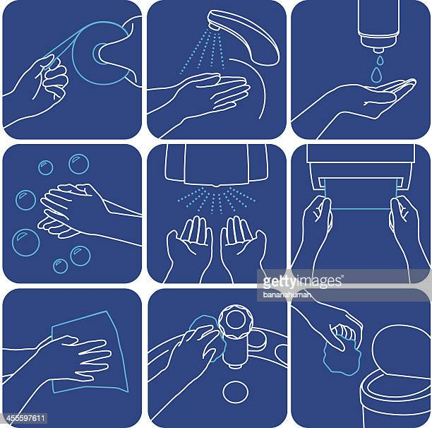 wash hands - washing hands stock illustrations