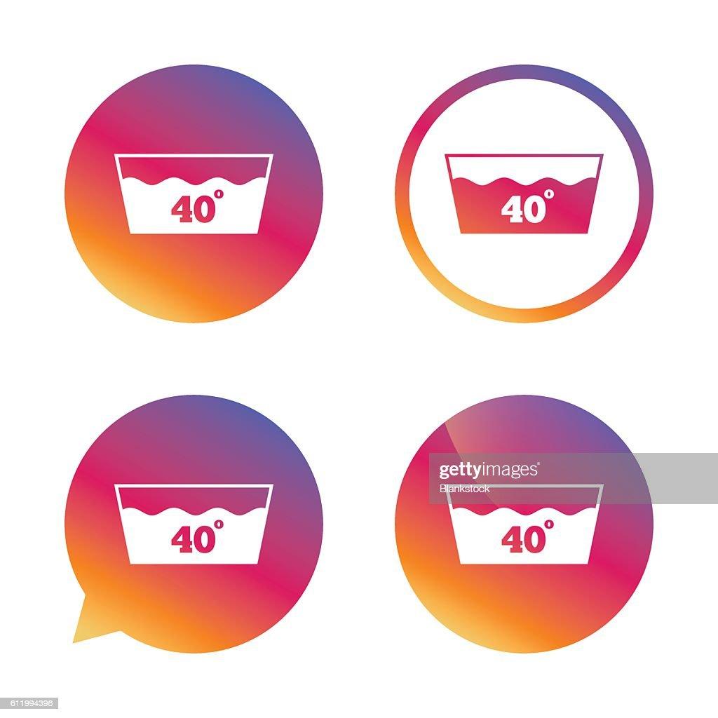 Wash Icon Machine Washable At 40 Degrees Symbol Vector Art Getty