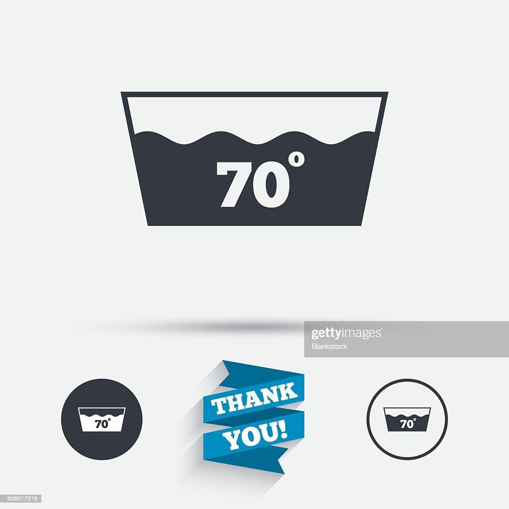 Wash Icon Machine Washable At 70 Degrees Symbol Vector Art Getty