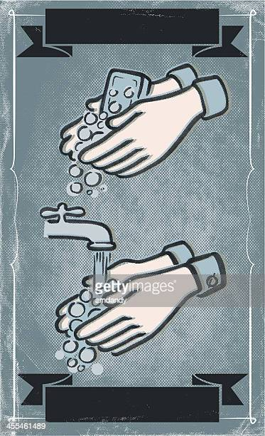 wash those nasty hands - washing hands stock illustrations