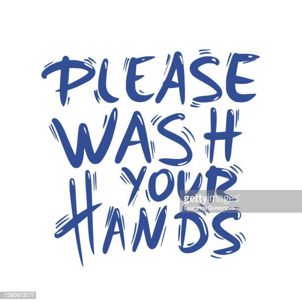 please wash your hands hand drawn