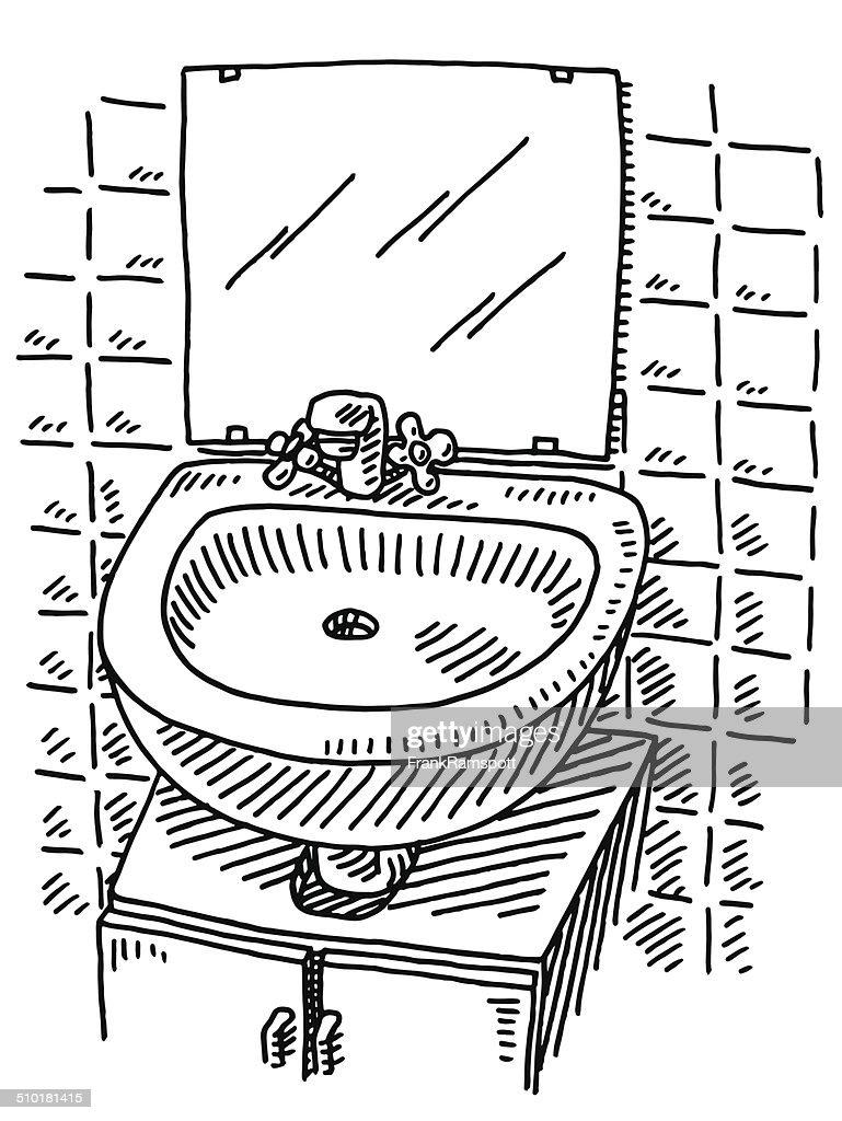 Washbasin Mirror Bathroom Drawing Vector Art Getty Images - Drawing of bathroom