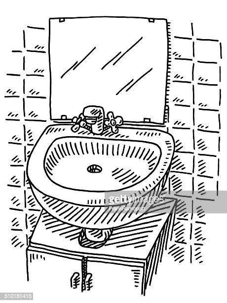 washbasin mirror bathroom drawing - ceramics stock illustrations, clip art, cartoons, & icons