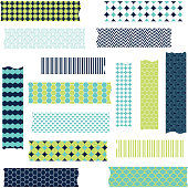 Washi Tape Scrapbook Patterns,Navy and Green.Vector Elements.