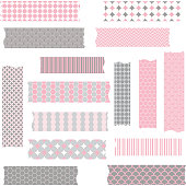 Washi Tape Scrapbook Patterns,Pink and Grey.Vector Elements.Vector illustration.