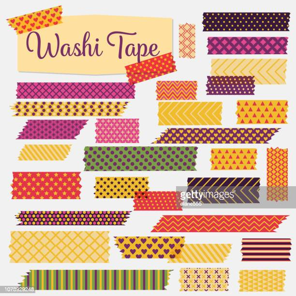 washi tapes in a variety of patterns and colours - adhesive tape stock illustrations