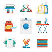 Washing and laundry flat icons