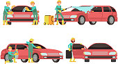 Washing car services vector concepts with cars and cleaners