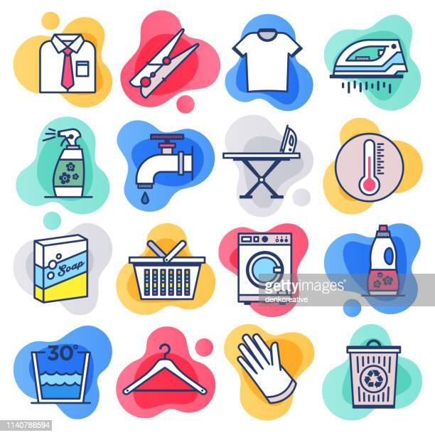 washing & cleaning products flat line liquid style vector icon set - housework stock illustrations