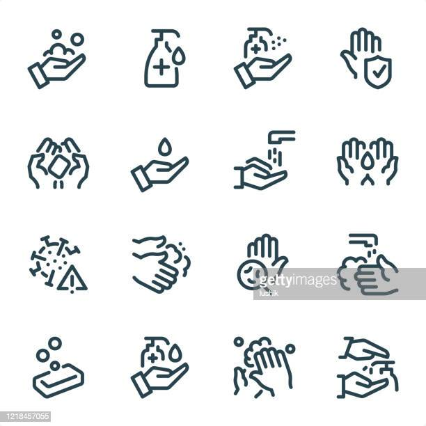 washing hands and hygiene - pixel perfect unicolor line icons - purity stock illustrations