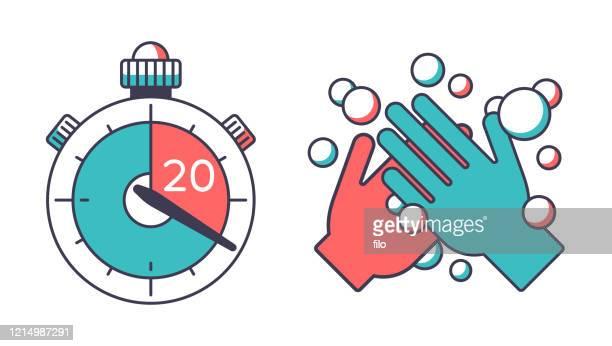 20秒タイマーのための手を洗う - 数字の20点のイラスト素材/クリップアート素材/マンガ素材/アイコン素材