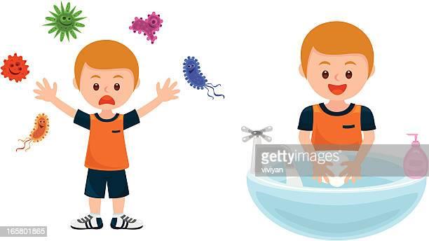 ilustrações, clipart, desenhos animados e ícones de lavando as mãos fugir bactérias - lava