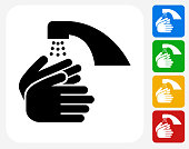 Washing Hands Icon Flat Graphic Design