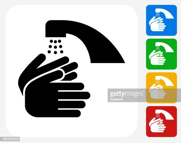 Washing Hands Icon Flat Graphic Design