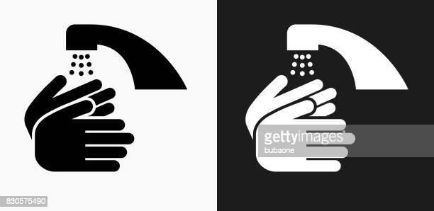 Lavage des mains icône sur fond de Vector noir et blanc