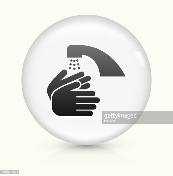 手を洗うのアイコンホワイト丸いベクトルボタン