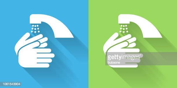 illustrations, cliparts, dessins animés et icônes de lavage des mains icône avec ombre portée - lavage des mains