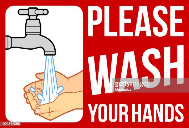 washing hands sign - washing hands stock illustrations