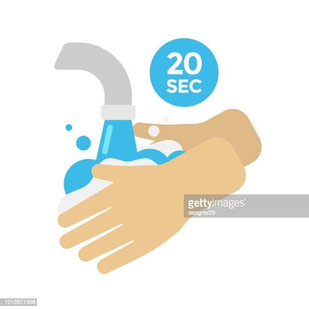 stockillustraties, clipart, cartoons en iconen met wassen handen vector ontwerp. 20 tweedehands wassen en schoonmaken concept flat design. - handen wassen
