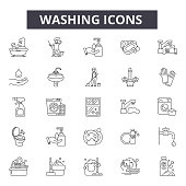 Washing line icons, signs, vector set, linear concept, outline illustration
