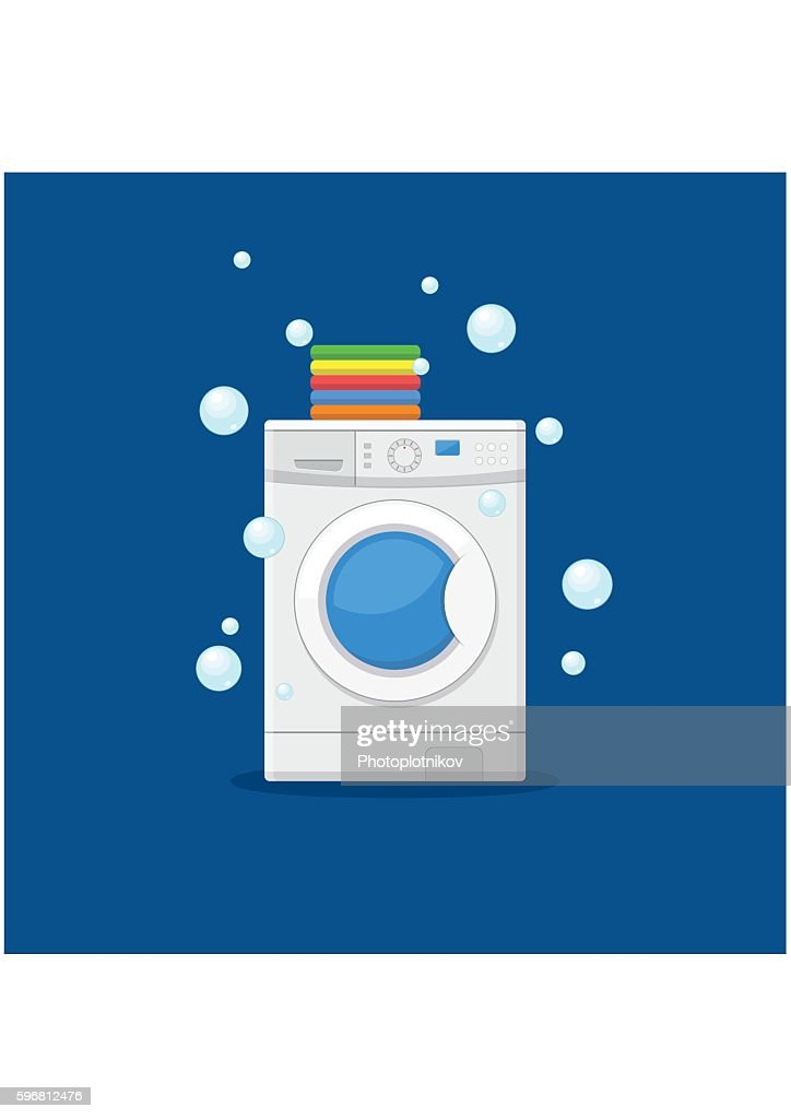 Washing machine and towels. Equipment housework laundry wash clothes.
