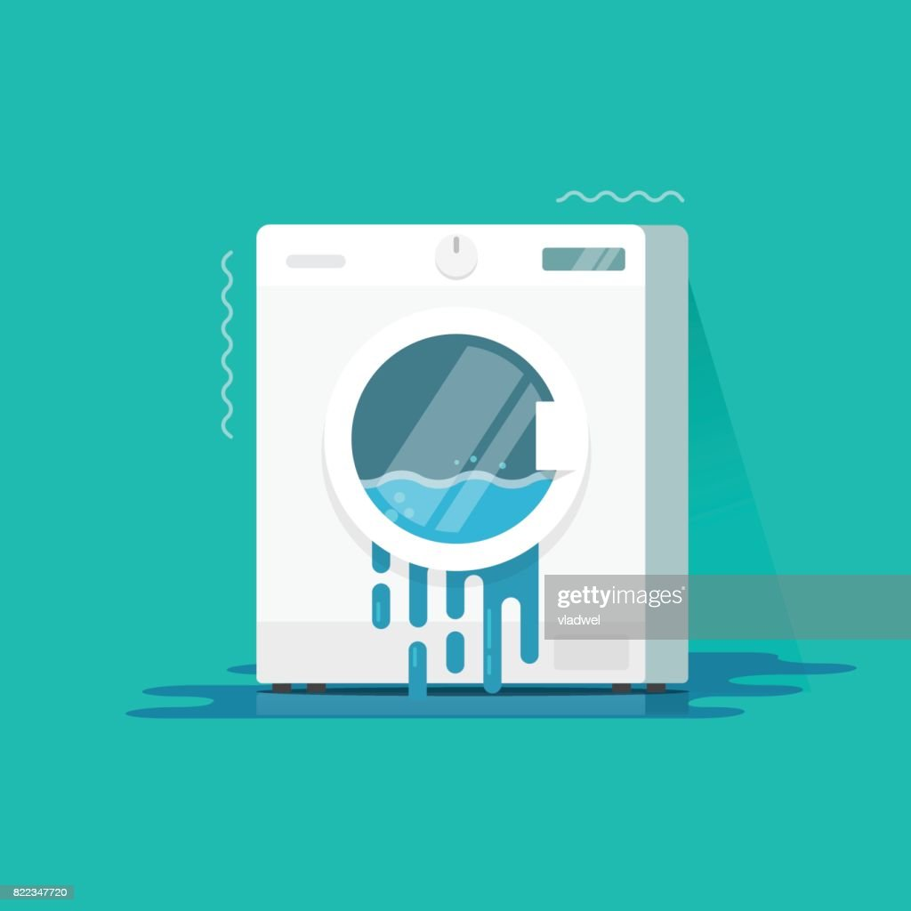 Washing machine broken vector illustration, flat cartoon color damaged washer and water flowing on floor need repair isolated