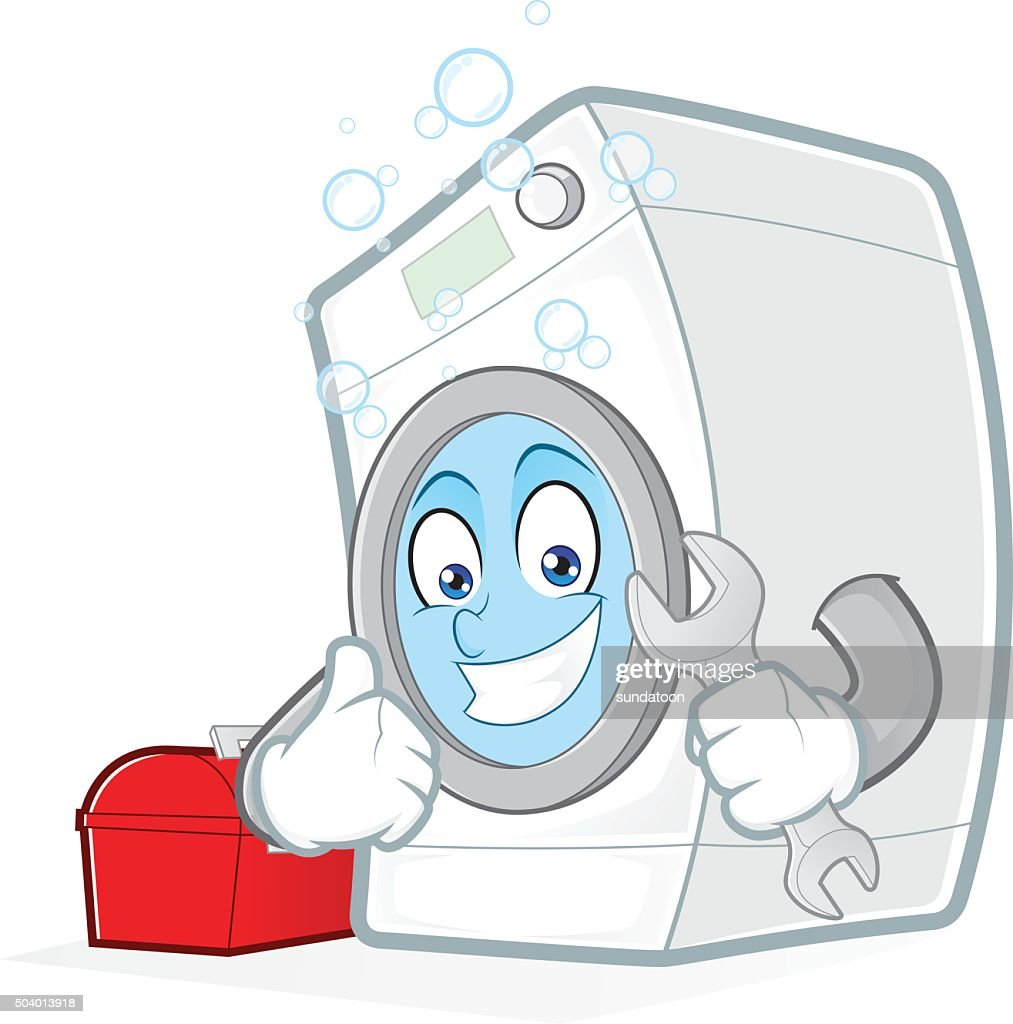 Washing machine holding a wrench with toolbox