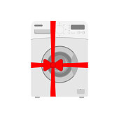 Washing mashine wrapped a red ribbon with a bow. Flat icon