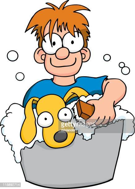 washing the dog - scrubbing stock illustrations, clip art, cartoons, & icons