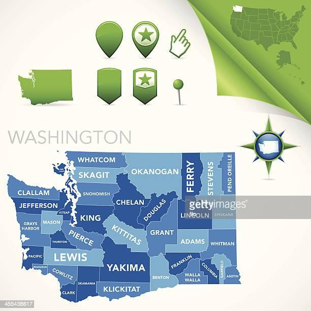 washington county map - kitsap county washington state stock illustrations