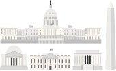Washington DC Capitol Buildings and Memorials Vector Illustration