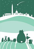 Washington DC Christmas skyline