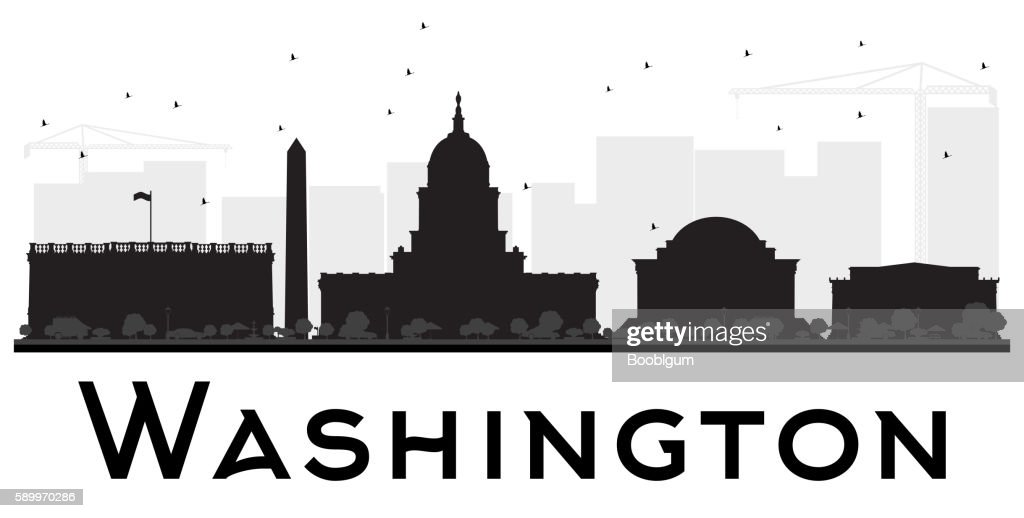 Washington DC City skyline black and white silhouette.