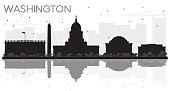 Washington DC City skyline black and white silhouette with reflections.
