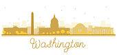 Washington dc city skyline golden silhouette.