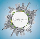 Washington DC city skyline with Gray Landmarks and Copy Space.