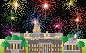 Washington DC Fourth of July Fireworks Vector Illustration