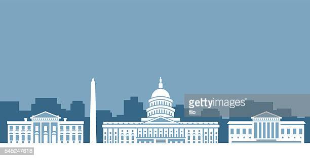 washington d.c. government skyline - capitol building washington dc stock illustrations