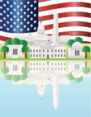 Washington DC Landmarks Reflection with US Flag Vector Illustration