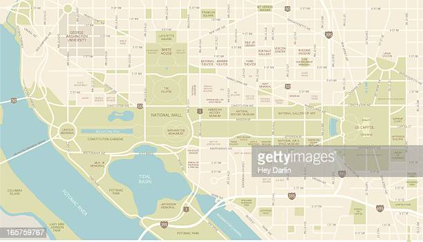 washington d.c. map - washington dc stock illustrations
