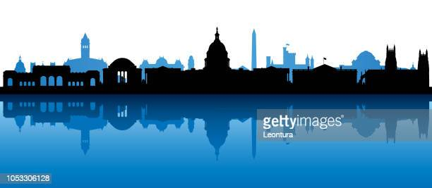 washington dc (all buildings are complete and moveable) - washington dc stock illustrations