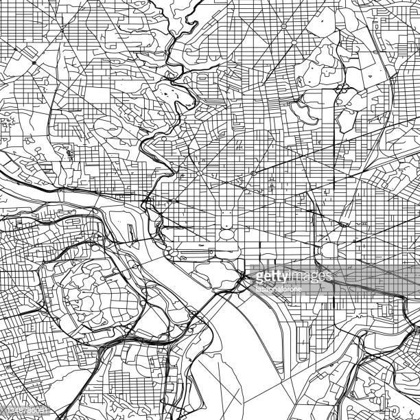 washington dc vector map - smithsonian institution stock illustrations