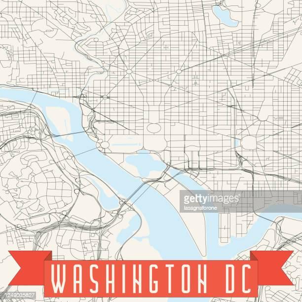 washington dc vector map - potomac maryland stock illustrations