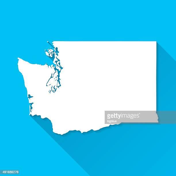 ilustrações de stock, clip art, desenhos animados e ícones de washington mapa sobre fundo azul, longa sombra, plana design - washington state