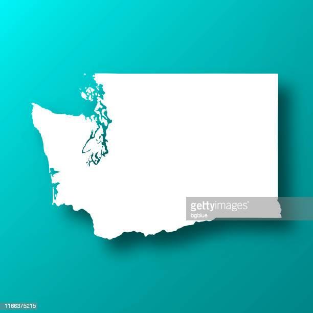washington map on blue green background with shadow - washington state stock illustrations