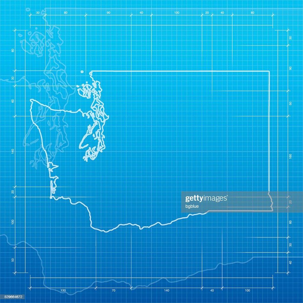 Washington map on blueprint background vector art getty images washington map on blueprint background vector art malvernweather Images