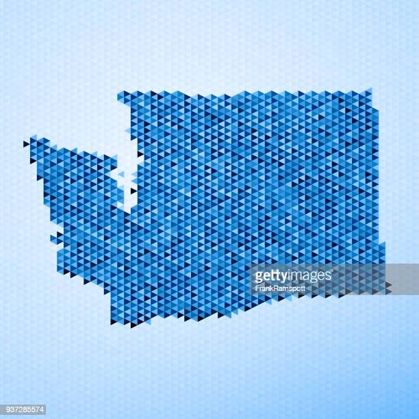 Washington Karte Dreieck Muster Blau