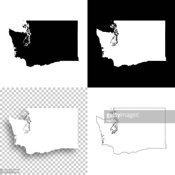 washington maps for design - blank, white and black backgrounds - washington state stock illustrations