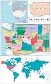 Washington state administrative map and large navigation set